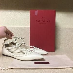Valentino Caged Rockstud Ballerina Flat Size 42